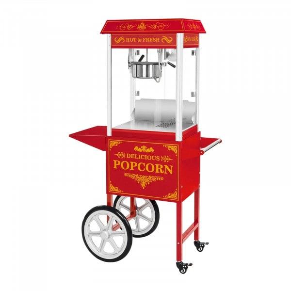 Popcornmaskine med vogn - retrodesign - rød
