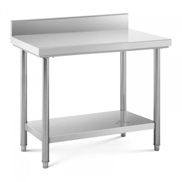 Stålbord - 100 x 60 cm - 90 kg bæreevne - med bagkant