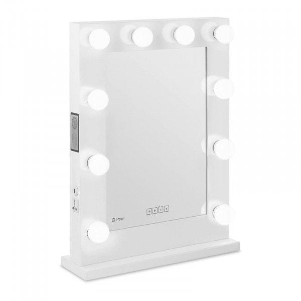 Brugt Makeupspejl med lys - hvidt - 10 LED - firkantet - højttaler