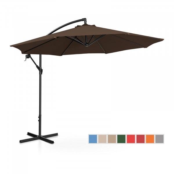 Brugt Hængeparasol - brun - rund - 300 cm i diameter - knæk-position