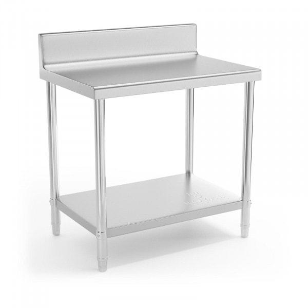 Stålbord - 90 x 60 cm - med bagkant - 210 kg bæreevne