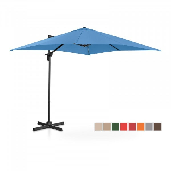 Brugt Hængeparasol - blå - firkantet - 250 cm i diameter - drejelig