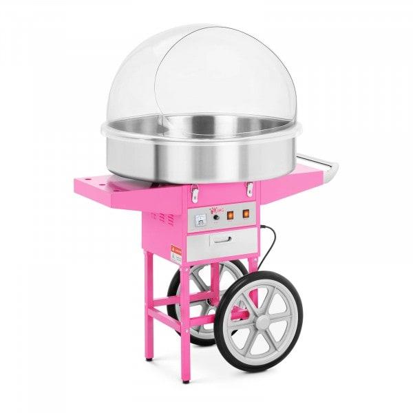 Candyfloss-maskine med vogn - 72 cm - beskyttelseskuppel