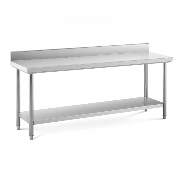 Stålbord - 200 x 60 cm - 195 kg bæreevne - med bagkant