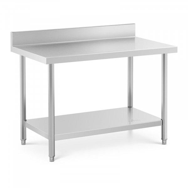 Stålbord - 120 x 70 cm - 115 kg bæreevne - med bagkant
