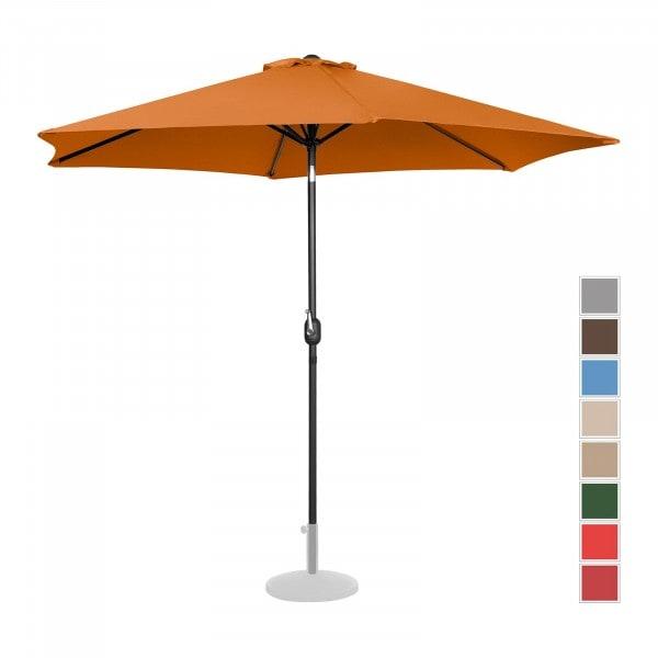 Brugt Parasol - orange - sekskantet - 300 cm i diameter - knæk-position