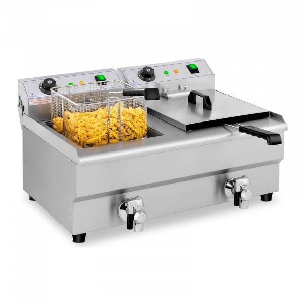 Frituregryde - 2 x 13 liter - afløbshane - 230 V