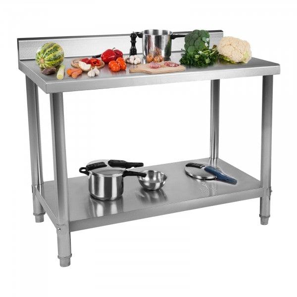 Stålbord - 120 x 60 cm - 137 kg bæreevne - med bagkant