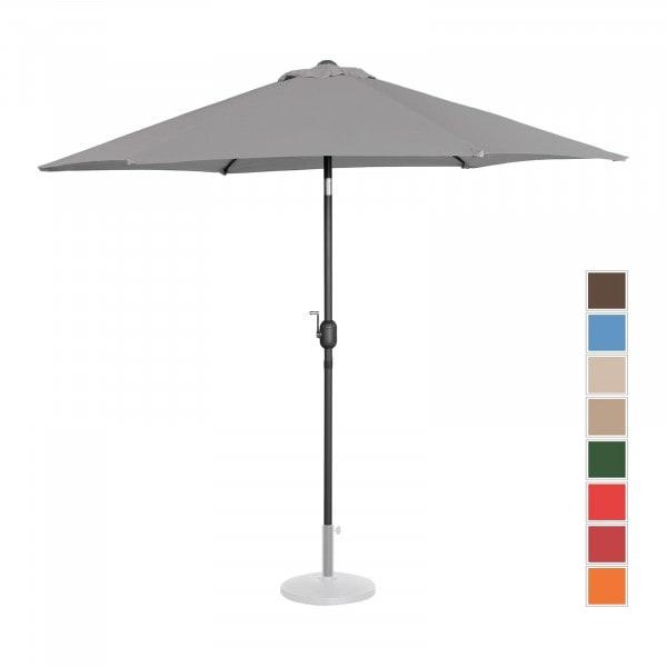 Brugt Parasol - mørkegrå - sekskantet - 270 cm i diameter - knæk-position