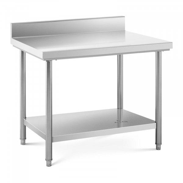 Stålbord - 100 x 70 cm - 95 kg bæreevne - med bagkant