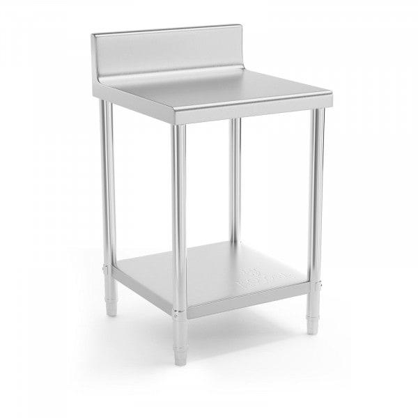 Stålbord - 60 x 60 cm - med bagkant - 150 kg bæreevne