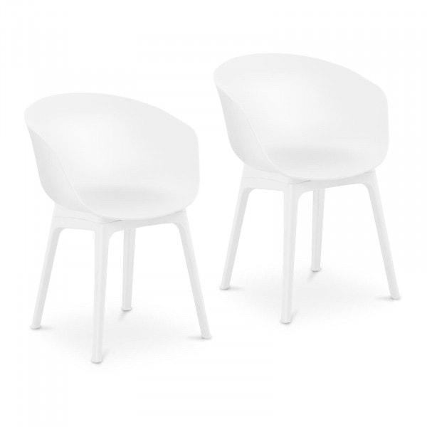 Brugt Designstole - 2 stk. - maks. 150 kg - sæde 60 x 44 cm - hvid
