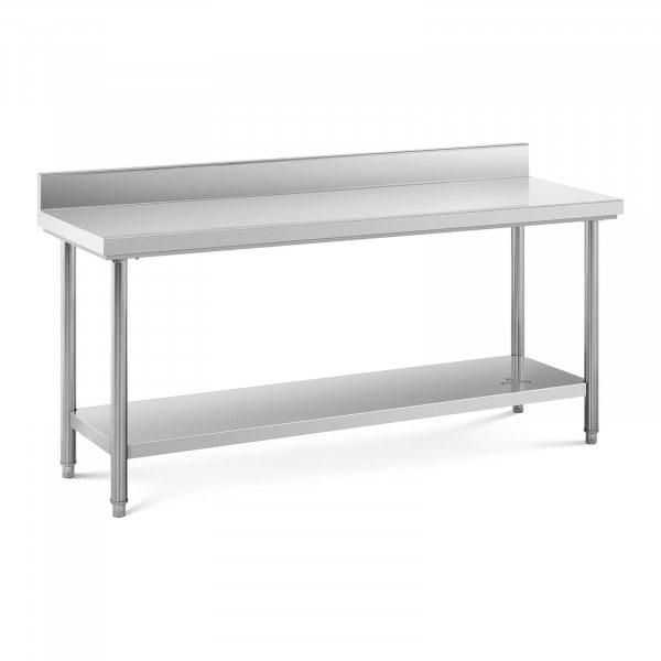 Stålbord - 180 x 60 cm - 182 kg bæreevne - med bagkant