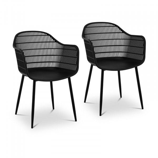 Brugt Designstole - 2 stk. - maks. 150 kg - sæde 45 x 44 cm - sorte