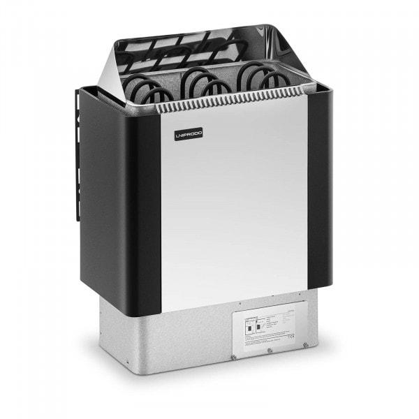 Brugt Saunaovn - 4,5 kW - 30 til 110 °C - front af rustfrit stål