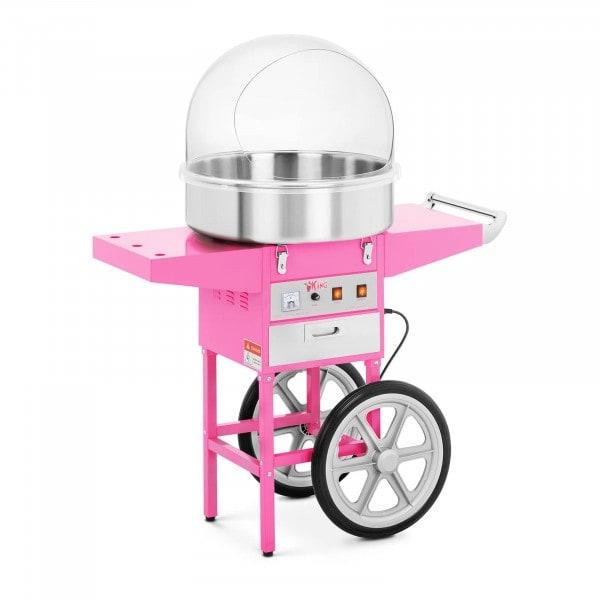 Candyfloss-maskine - sæt inkl. vogn og beskyttelseskuppel - 52 cm - 1.200 watt