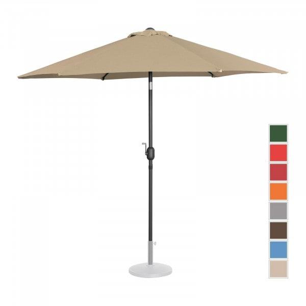 Brugt Parasol - taupe - sekskantet - 270 cm i diameter - knæk-position