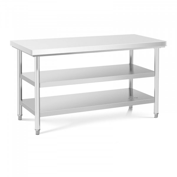 Stålbord - 150 x 70 cm - 600 kg - 3 bordplader