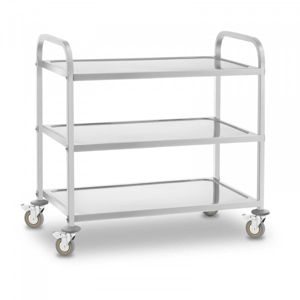 Serveringsvogn rustfrit stål - 3 bordplader - 480 kg