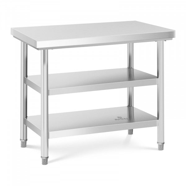 Stålbord - 100 x 70 cm - 600kg - 3 bordplader