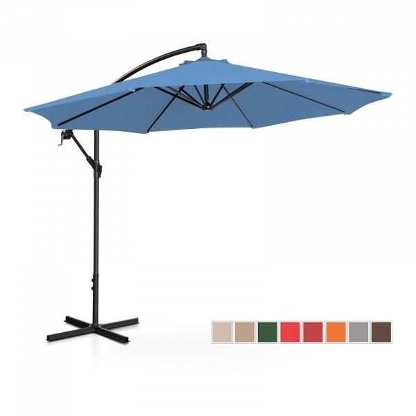 Brugt Hængeparasol - blå - rund - 300 cm i diameter - knæk-position