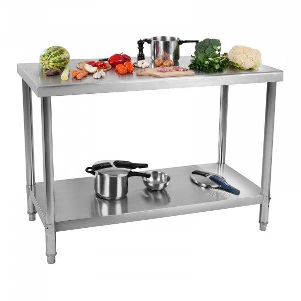 Stålbord - 120 x 70 cm - 115 kg bæreevne