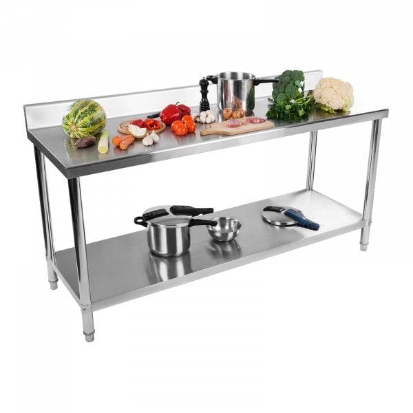 Stålbord - 180 x 60 cm - 170 kg bæreevne - med bagkant