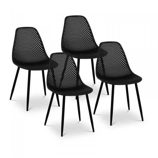 Brugt Designstole - 4 stk. - maks. 150 kg - sæde 52 x 46,5 cm - sort