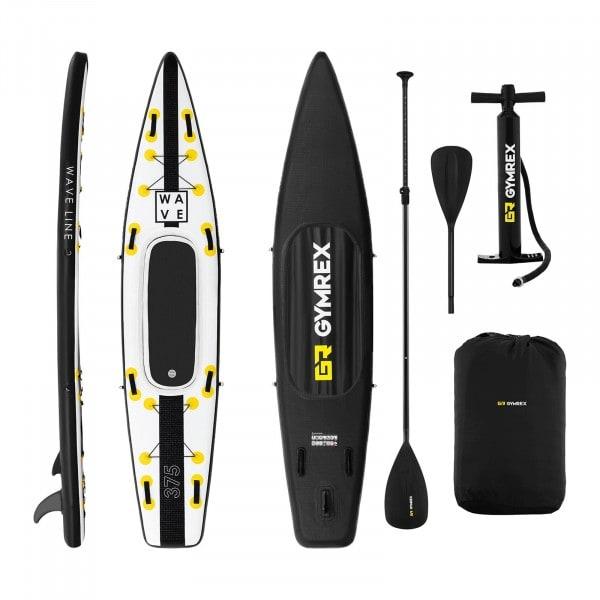 Brugt Paddle-board - 120 kg - sort/gul - sæt inkl. paddel, sæde og tilbehør