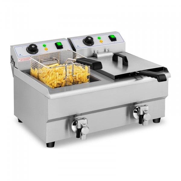 Frituregryde - 2 x 10 liter - afløbshane - 230 V