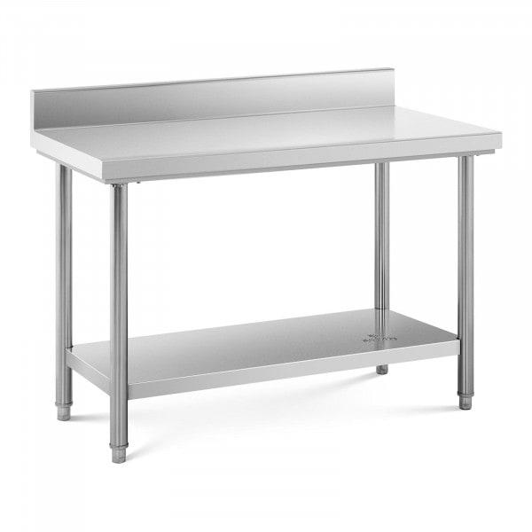 Stålbord - 120 x 60 cm - 110 kg bæreevne - med bagkant