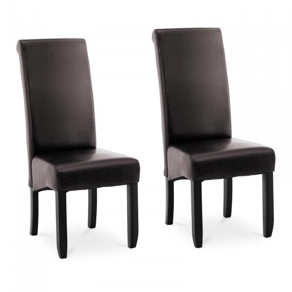 Brugt Spisebordsstole - 2 stk. - maks. 180 kg - sæde 44,5 x 44 cm - mørkebrun