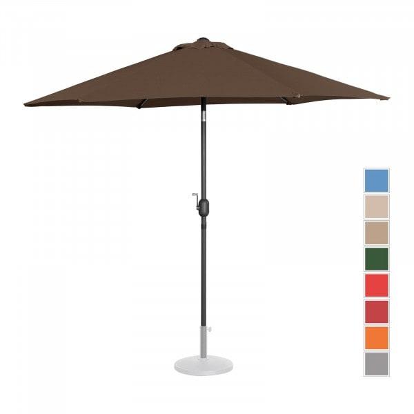 Brugt Parasol - brun - sekskantet - 270 cm i diameter - knæk-position