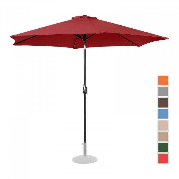 Brugt Parasol - bordeaux - sekskantet - 300 cm i diameter - knæk-position