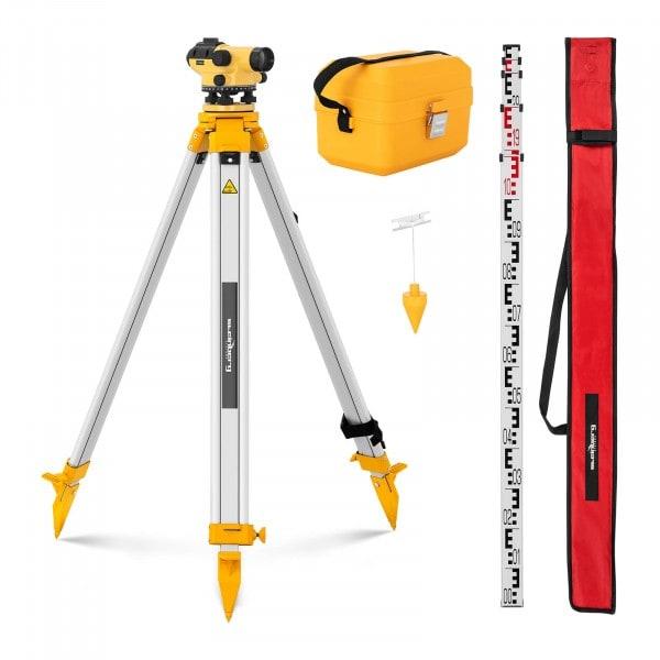 Brugt Nivelleringsapparat - med stativ og målestok - 28 x forstørrelse - 36 mm objektiv - nøjagtighed 1,5 mm - magnetisk kompensator