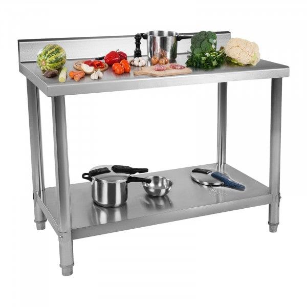 Stålbord - 150 x 60 cm - 159 kg bæreevne - med bagkant