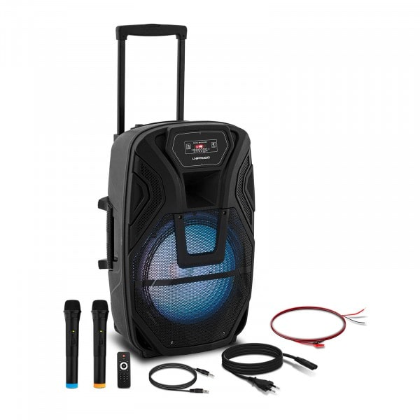 Brugt Kuffert-højtaler - 2 mikrofoner - fjernbetjening - 50 W