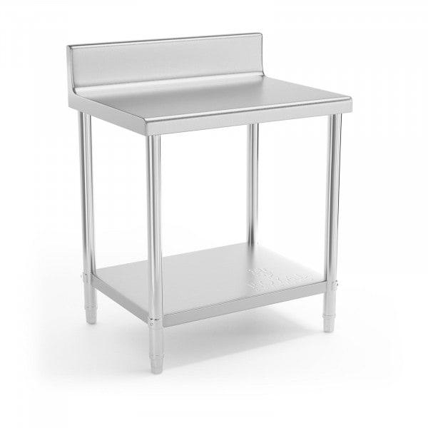 Stålbord - 80 x 60 cm - med bagkant - 190 kg bæreevne