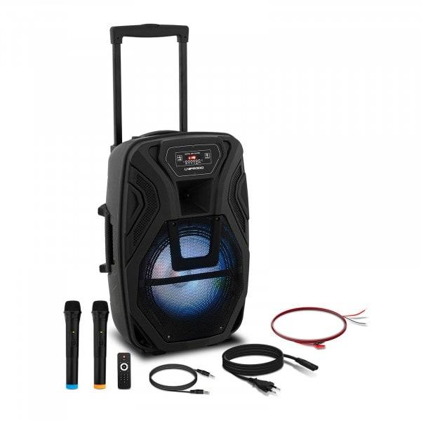 Brugt Kuffert-højtaler - 2 mikrofoner - fjernbetjening - 40 W