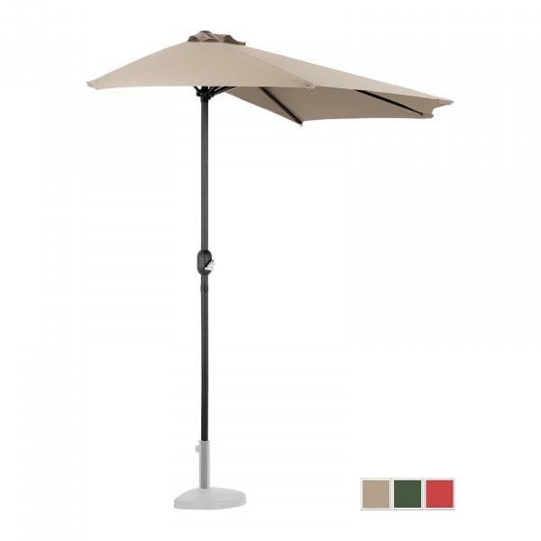 Brugt Halv parasol - flødefarvet - femkantet - 270 x 135 cm