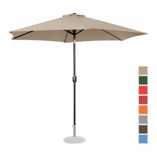 Brugt Parasol - flødefarvet - sekskantet - 300 cm i diameter - knæk-position